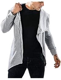Sodossny-JP メンズファッション斜めジップジャケットヒップホップヒップホップ不規則ヘムパーカーコート