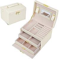 SZTulip ジュエリーボックス アクセサリーケース ジュエリー収納 大容量 鏡 鍵付き小物入れ トレイ付き 宝石箱 PUレザー (ホワイト)