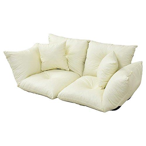 コムファ Flora 【 国産 】 座椅子にもなる 2WAY 分割 カウチソファ クッション 2個付き リクライニング 7段階調整 幅 160 フロアソファ 2人掛け 1人掛け レザー アイボリー