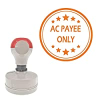 Ac Payee Only Round Office Stamp With Stars pre-inked, Orange Ink Included