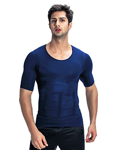 加圧インナー コンプレッションウェア【品質保証】2018 お腹引き締め スポーツウェア 筋肉 Tシャツ コンプレッションインナー 補正下着 メンズ (XL, ブルー)