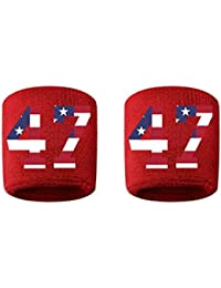 # 47刺繍/ステッチ汗止めバンドリストバンドレッドSweat Band w/USAアメリカ国旗数(2パック)