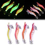 EmmetStore(TM) 4pcs/lot Fluorescent Shrimp Squid Jig Cuttlefish Jig Fishing Lure 8cm/8g