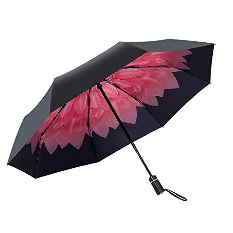 そこからアカデミック自治日傘黒アンチUV日傘超小雨と雨の兼用傘小さな新鮮な折りたたみ傘 (色 : A)