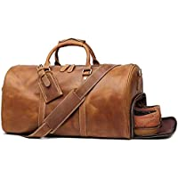 TUZECH Leather Travel Luggage Bag, Mens Duffle Retro Carry on Handbag (Brown)