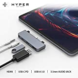 """HyperDrive USB C Hub Adapter for iPad Pro 2019/2018 11""""/ 12.9"""", Most USBC Smartphones/Tablets, 4-in-1 USB-C Hub Dongle with 4K HDMI, C-USB PD Charging, USB 3.0, 3.5mm Headphone Audio Jack -Space Gray"""