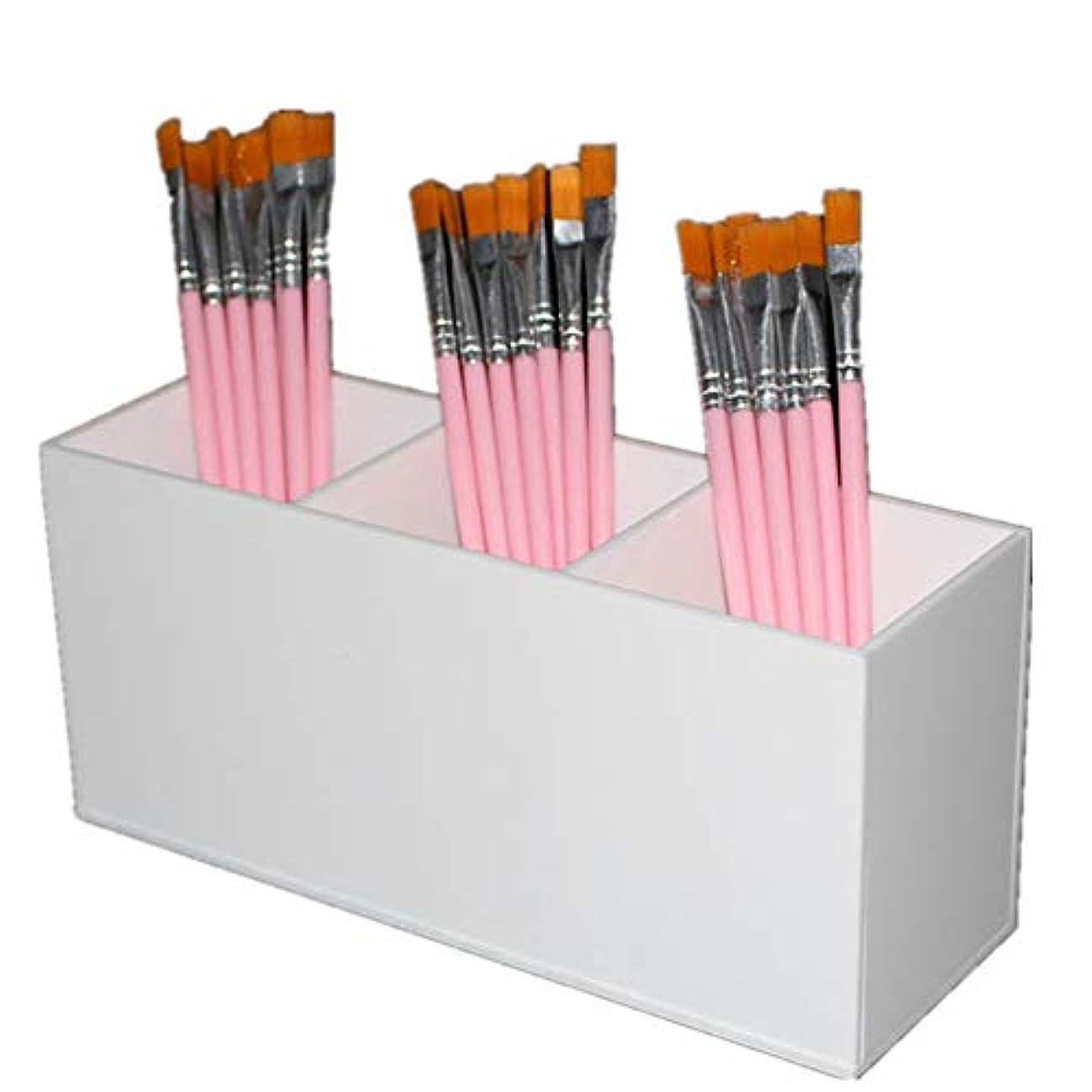 たくさんテーマ量整理簡単 シンプルな化粧オーガナイザーブラシホルダーホワイトアクリル散りばめたデザイン化粧オーガナイザー (Color : White, Size : 20*6.5*9CM)