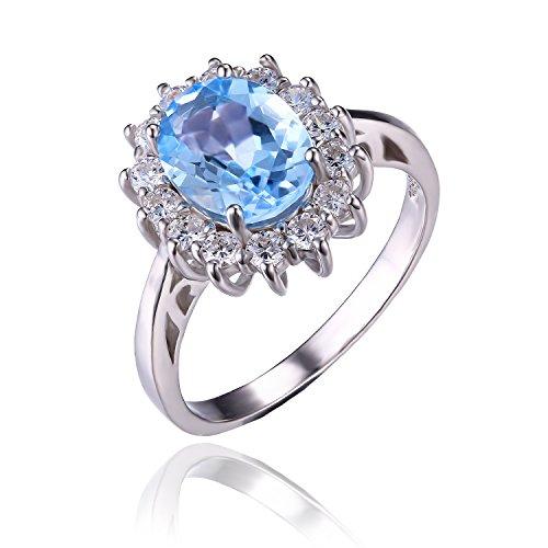 JewelryPalace 2.4ct 天然石 Kate Middleton(ケイトミドルトン)Diana(ダイアナ) プリンセス デザイン 誕生石 11月 シルバー 925 ブルー トパーズ リング レディース 結婚式 婚約 指輪 サイズ 11