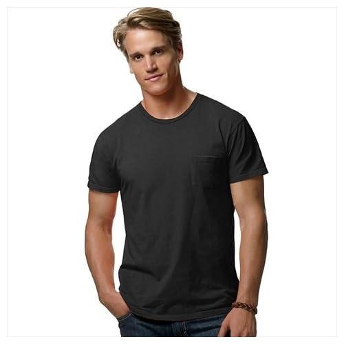 ヘインズ498PメンズナノTポケットTシャツ、3X - ブラック