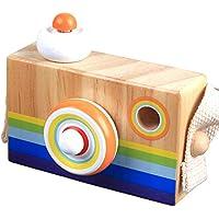 Konvinit 木製カメラトイ 万華鏡レンズ ポータブルトイ ネックストラップ付き ベビーキッズ 教育 科学開発 ギフト C28-Konvinit-stripecamera-N