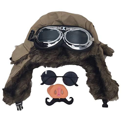[pkpohs] 豚の鼻 豚 パイロット 飛行士 コスプレ 仮装セット 飛行帽 ハロウィン (ベージュ)