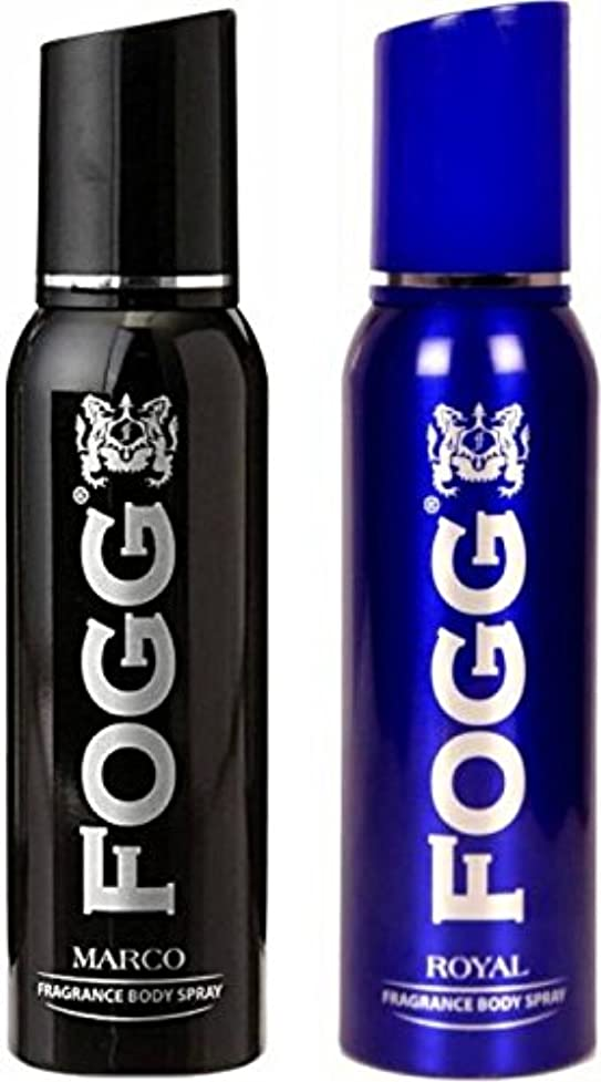 インフレーション膜連続的Fogg Men's 1 Marco and 1 Royal Deodorant Body Spray Combo Pack of 2 (240 ml)