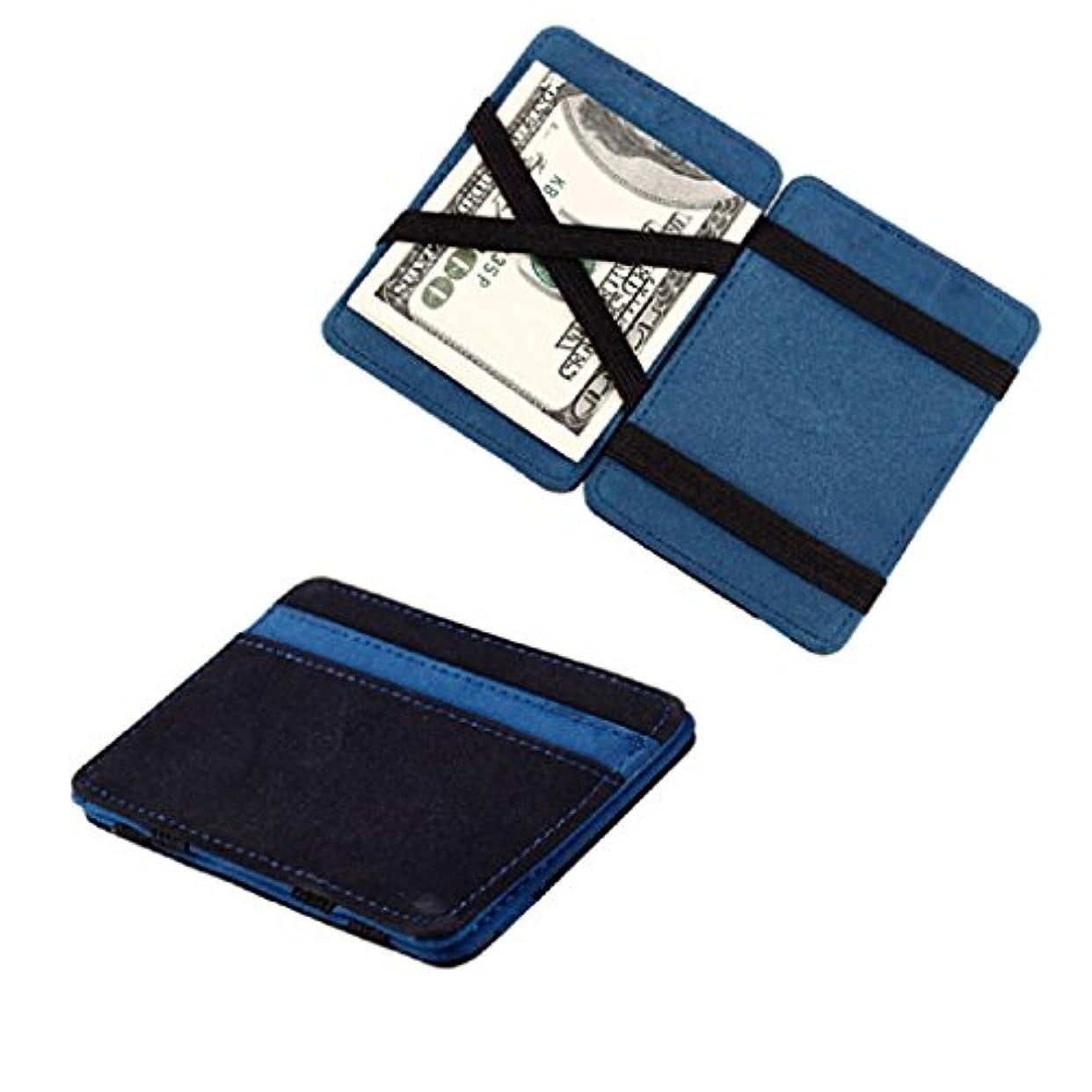 委託固める夜trendinao新しいブルーMini Neutral Grind Magic二つ折りレザーカードホルダー財布型