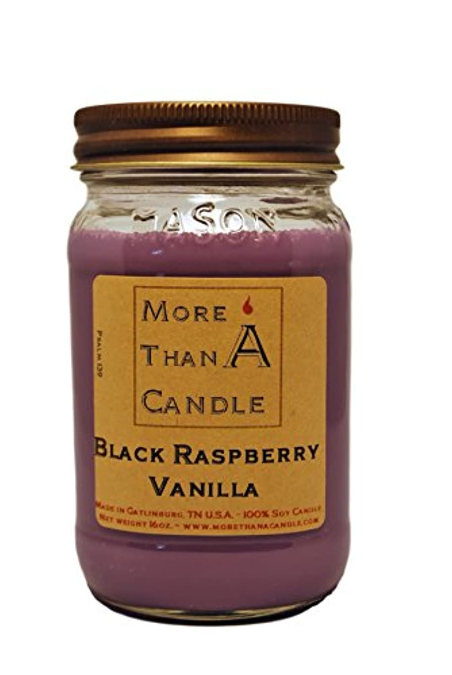 平衡ブローホールほめるMore Than A Candle BRV16M 16 oz Mason Jar Soy Candle, Black Raspberry Vanilla