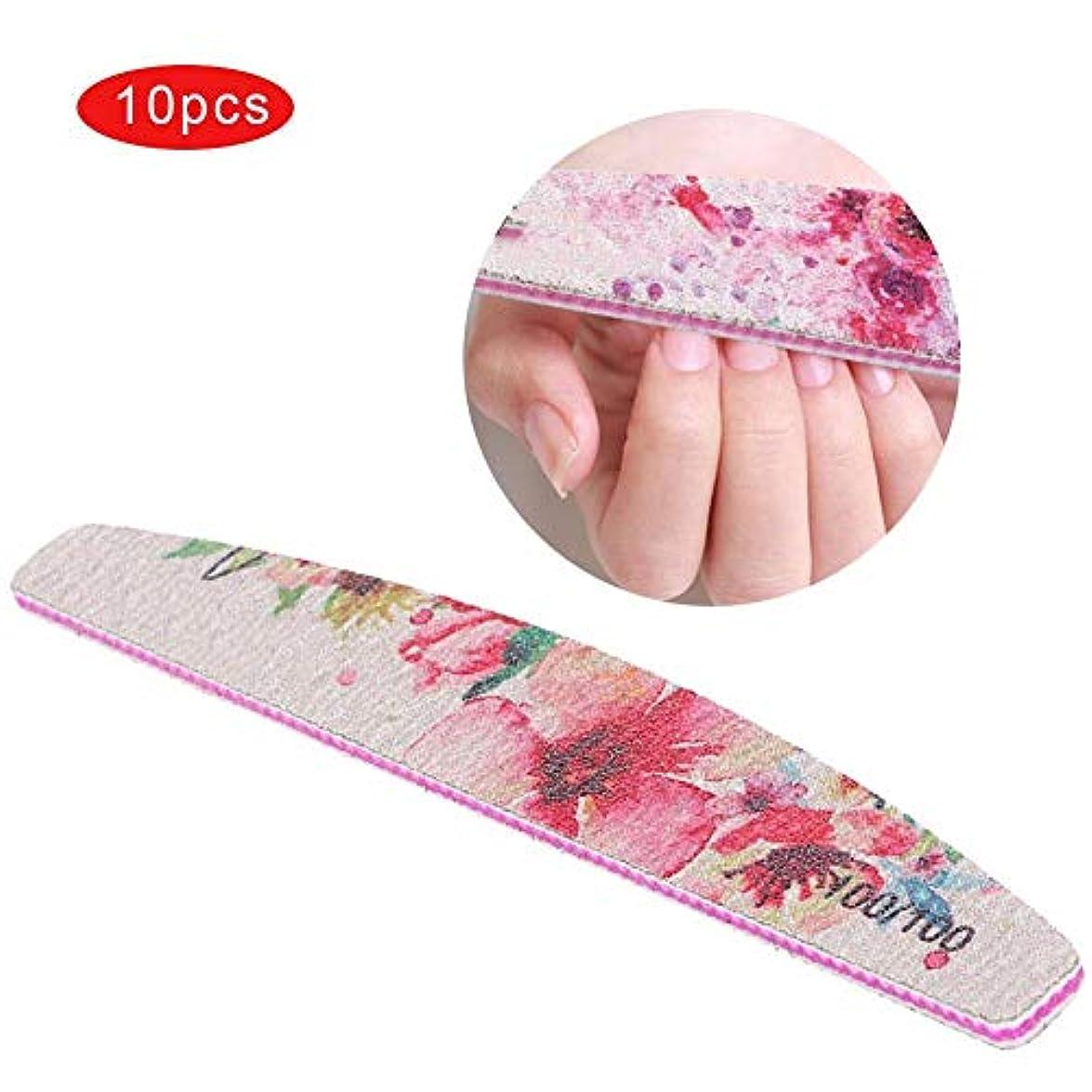 はがき証明夕食を食べる新しい印刷された爪やすり両面花印刷防水マニキュア研磨ツール(100/100)
