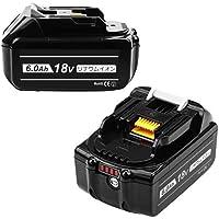 DOSCTT 互换 マキタ 18v バッテリーbl1860b 18v互換バッテリー マキタ 6.0Ah 2個セットLED残量表示 BL1830 BL1860 BL1860B対応互換品