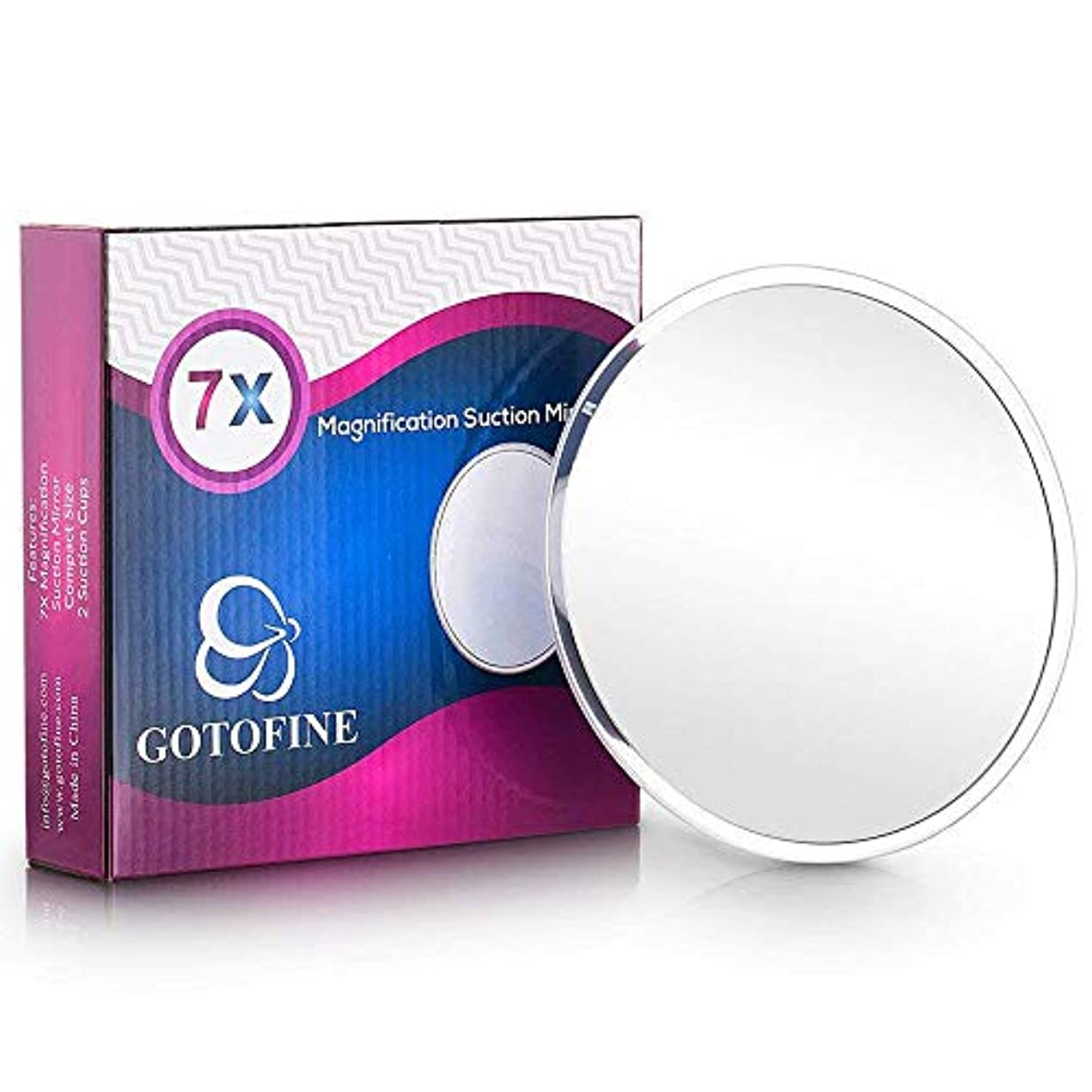 保険をかける持続的ヒギンズGotofine 化粧鏡 7倍 メイクミラー 風呂鏡 吸盤付き 浴室鏡 化粧ミラー 女優ミラー 円形 壁掛け式 …