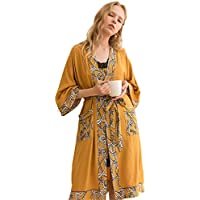 Loose 3/4 Sleeves Lace Nightgown, Simple Printed Pajamas Home Wear Bright Elegant Bathrobe Unique Design Sweet Temperament Pocket Gown,S