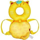 global I mall 可愛いリュック 赤ちゃんのごっつん防止やわらかリュック キッズ 乳幼児用 頭を保護できる 怪我防止 よちよち歩きの赤ちゃんにぴったり (白いネコ(メッシュタイプ)) (黄猫(メッシュ))