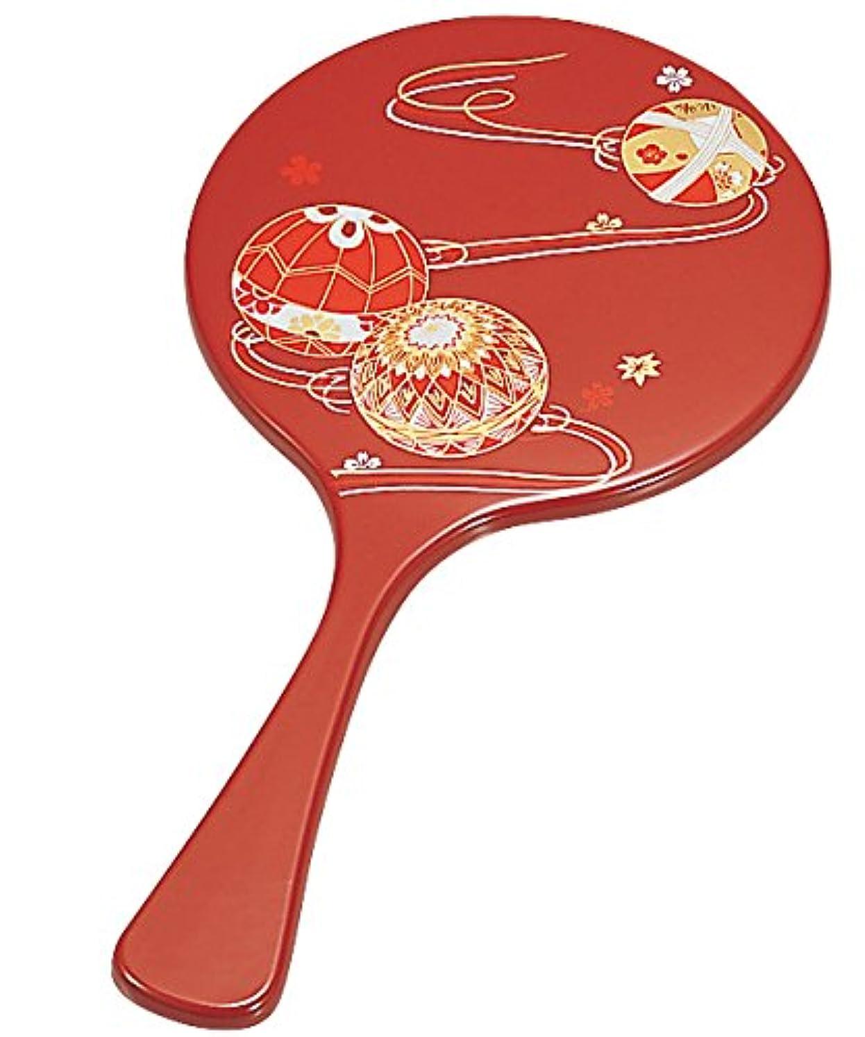 側ハブリマ中谷兄弟商会 山中漆器 丸手鏡 朱 てまり33-0807