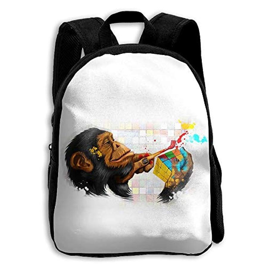 無限慣らす従者キッズ バックパック 子供用 リュックサック キューブチンパンジー猿 ショルダー デイパック アウトドア 男の子 女の子 通学 旅行 遠足