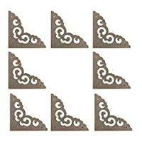 """uxcell ボックスコーナー アンティーク調 プロテクターヴィンテージガードエッジカバーブックテーブルジュエリーボックスコーナー家具の装飾 ブロンズトーン 2.56""""x 2.56"""" x 0.03""""8pcs"""