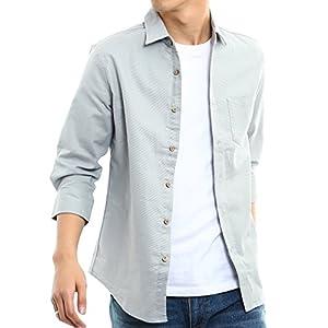 インプローブス 綿麻 シャツ ウッド調ボタン スリム ストレッチ パナマ織りシャツ メンズ B 7分袖 グレー S サイズ