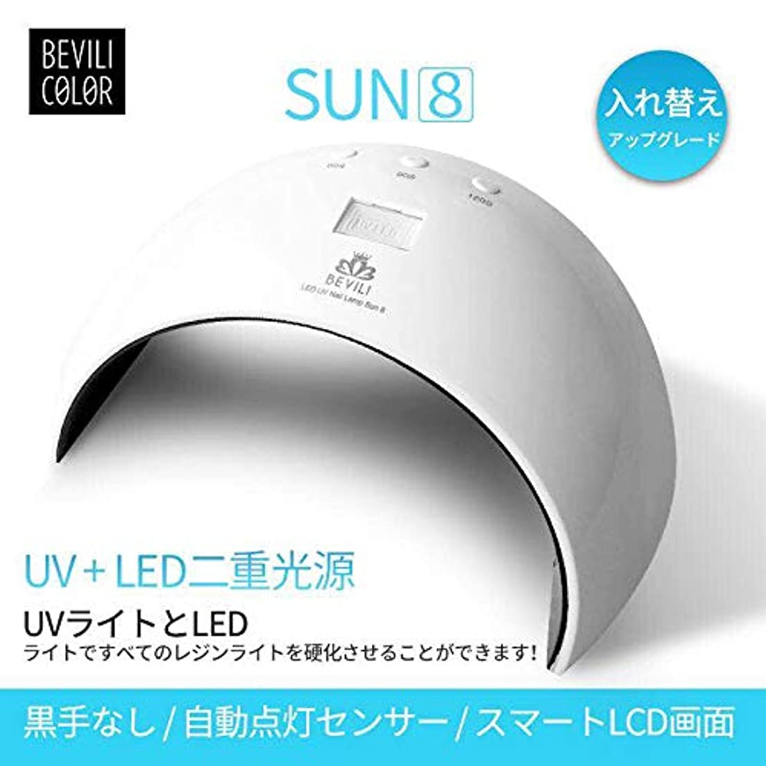 リンスボトルタップUV LEDネイルドライヤー 人感センサー UVライト24W 180度照射 Laintran 三つタイマー設定可能 UV と LEDダブルライト ジェルネイル用 ホワイト (24W) (ホワイト)