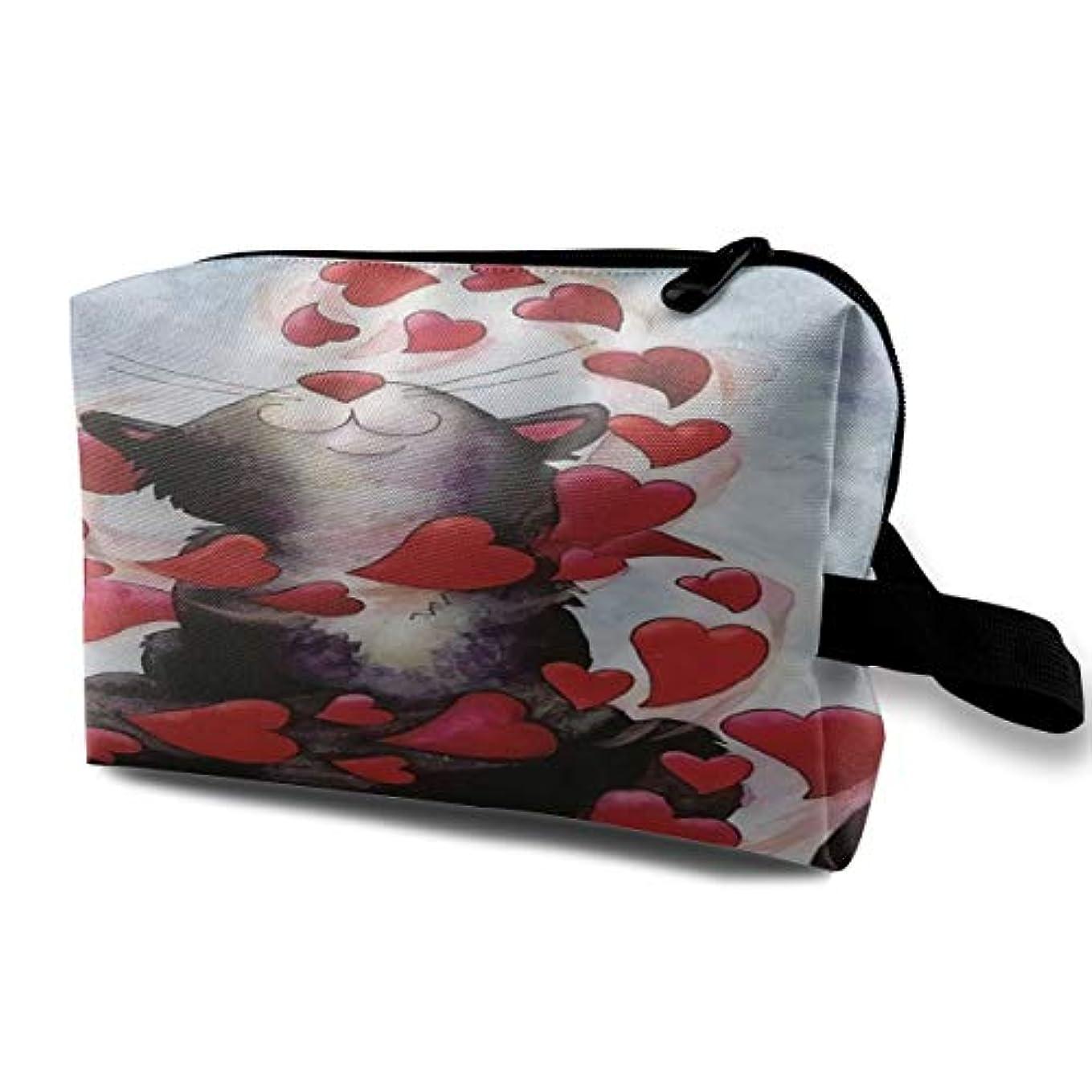 勤勉な見捨てるさわやかBlack Cat Play Red Hearts Happy Valentine's Day 収納ポーチ 化粧ポーチ 大容量 軽量 耐久性 ハンドル付持ち運び便利。入れ 自宅?出張?旅行?アウトドア撮影などに対応。メンズ レディース トラベルグッズ