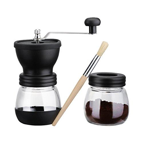 Longtop コーヒーミル 手挽き コーヒー粉粗さ調節可 セラミック製の臼 スケルトン 滑り止めカバー 掃除グブラシ付き 手動式 コーヒーミル ミル ブラック 18ヶ月Longtopメーカー保証が付き