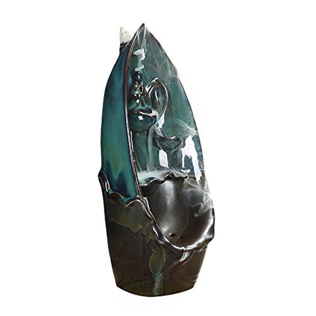 リーわずらわしいエミュレートするMoRer 陶器 倒流香 香炉 線香立て 流川香 お香用具 お線香 渦巻き線香 アロマ 香熏香炉 逆流 ドラゴン 癒し香炉 仏壇用香炉 自然の雰囲気 ヨガ 瞑想 庭園用 (3)