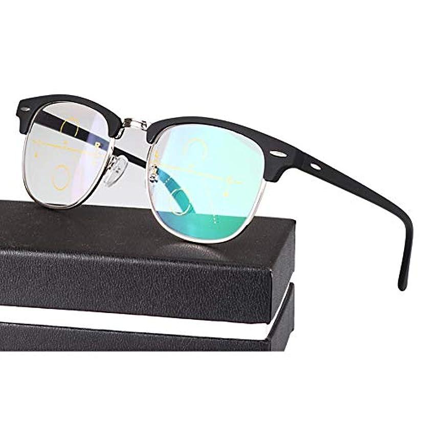 平和アリ達成メンズ/レディース用レトロスマートズームプログレッシブマルチフォーカス老眼鏡、遠近両用HD光学アイウェア、処方箋なしのスプリングヒンジ