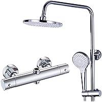 シャワーシステム、銅の一定温度 - ハンドシャワー - 調整可能なスライドバーホルダー、豪華なバスルームシャワーセット - 家族、ホテルに適しています,C