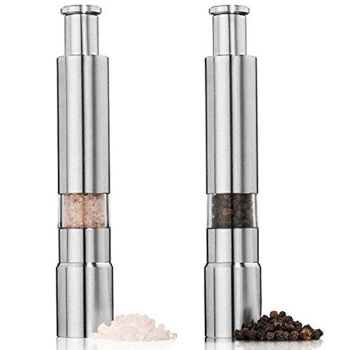 Happon ミル ペッパーミル ソルトミル 調味料挽き ステンレス製 片手 ワンプッシュ式 手動 2個セット … (1)