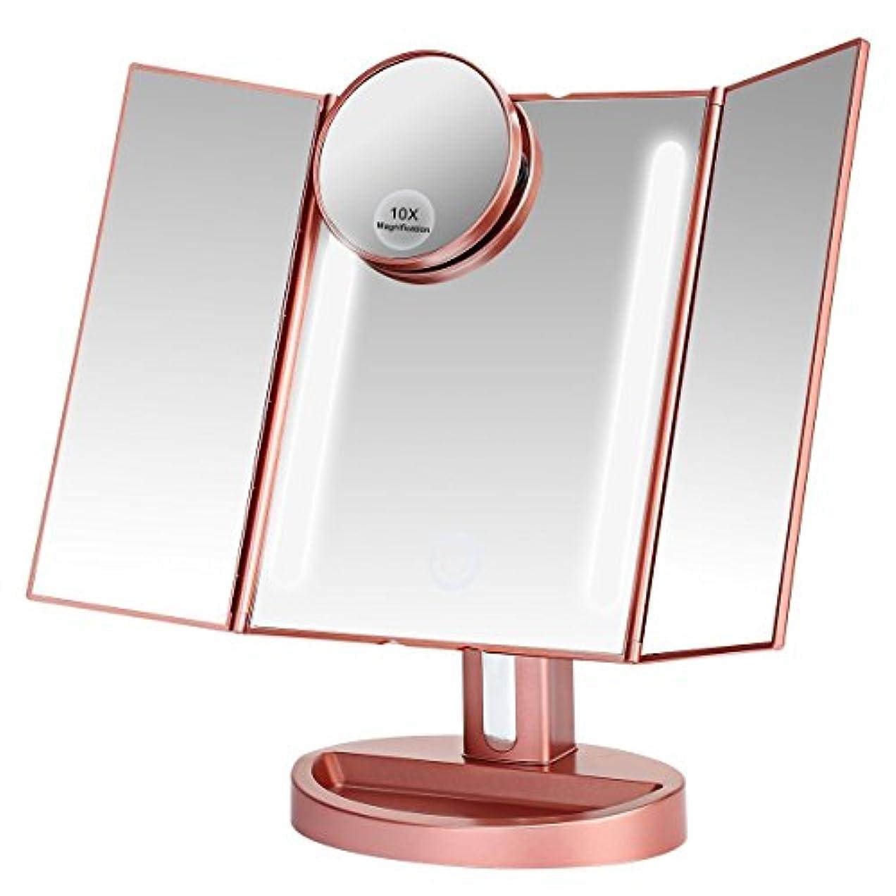 ましいブロンズつづりLEEPWEI 化粧鏡  LED三面鏡 折りたたみ式 10倍拡大鏡付き 明るさ調節 180度回転