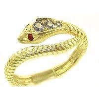英国製 (イギリス製) K9 イエローゴールド 天然 タンザナイト ルビー サーペント スネーク ヘビ 蛇 リング 指輪 7 号