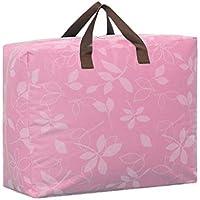 ポータブルストレージバッグフラワーパターン防湿オックスフォード布トラベルオーガナイザー羽毛布団キルト衣類移動仕上げ荷物袋 (色 : Pink, サイズ さいず : 58 * 46 * 28cm)