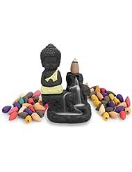 逆流香炉ホルダータワーCones Sticksセラミック磁器Buddha Monk Ashキャッチャー10さまざまなCones イエロー