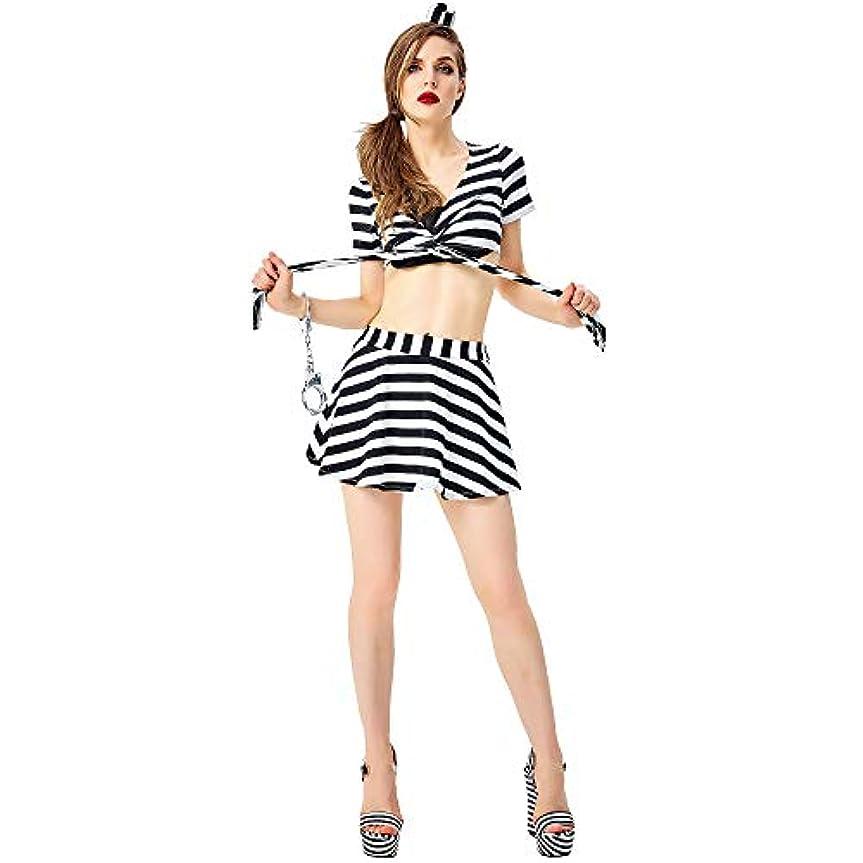 応用ガラガラ茎レディースハロウィーンドレス、囚人ドレスアップ、スプリットスカート、コスプレコスプレ衣装、フェスティバルパフォーマンスコスチューム