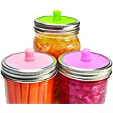 6-Pack Waterless Airlock Fermentation Lids for Wide Mouth Mason Jars, Mold Free, Food-Grade Silicone Easy Fermenting Lids for Sauerkraut, Kimchi, Pickles or Any Fermented Probiotic Food (3 Colors)
