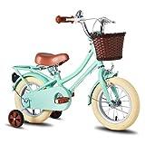 STITCH 子供自転車 12インチ 幼児用自転車 女の子 男の子 お誕生日プレゼント 夢の空 レトロ可愛い イギリス風 プリンセス 補助輪付き おしゃれ ガール ボーイズ ユニセックス グリーン