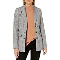 Karl Lagerfeld Paris Women's Notch Collar Plaid Jacket