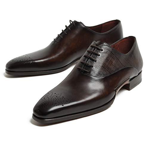 [マグナーニ] 靴 シューズ レースアップ プレーントゥ パティーヌ レザー オパンケ 型押し 48881