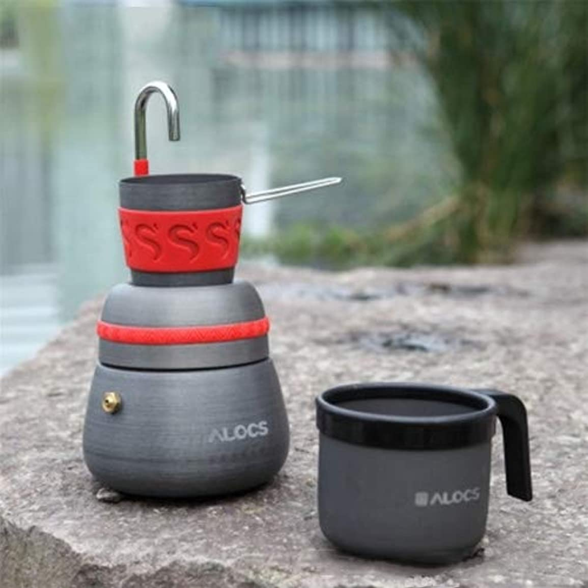 ヒップニンニクスタンド2つのコーヒーカップが付いている屋外のキャンプ用具のコーヒーストーブキャンプ用具