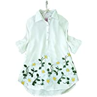 pupoa 花刺繍シャツブラウス 白 Aライン オーバーブラウス チュニック丈 5分袖 Floral Embroidery Shirts
