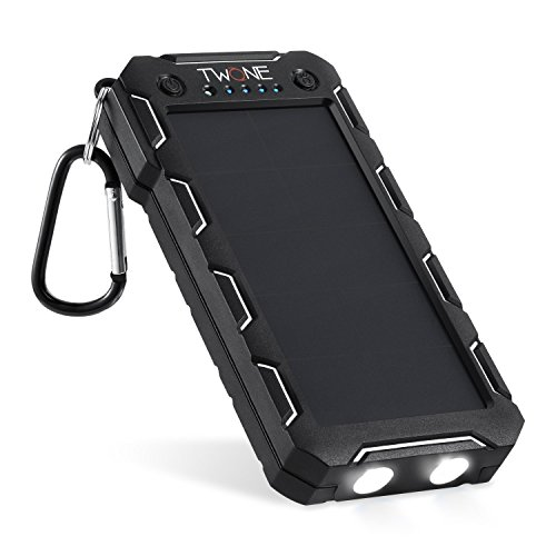 TWONE モバイルバッテリー (改良版) 20000mAh 防水・防塵・耐衝撃 2USB出力ポート LEDライト付き 急速充電器