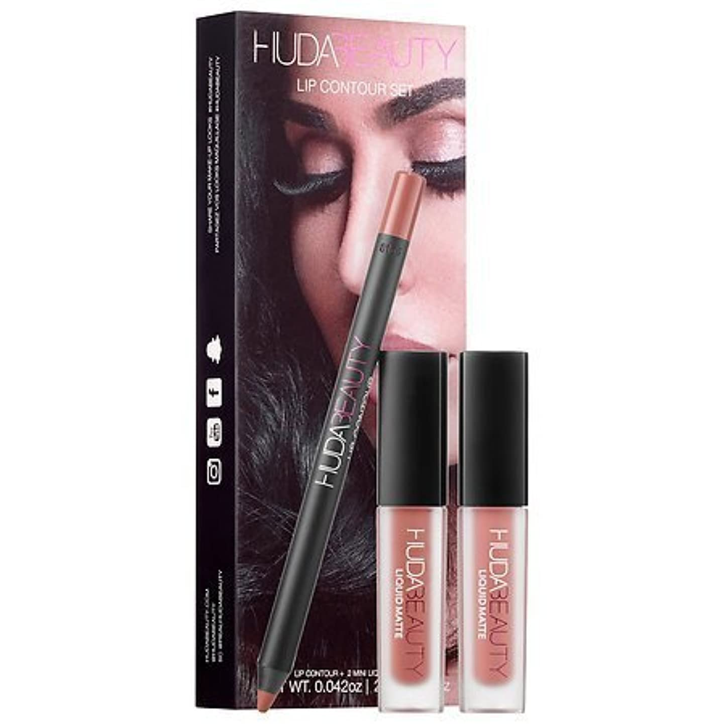 排泄物余分な最もHuda Beauty Lip Contour Set - Trendsetter (brown nude) & Bombshell (subtle pinkish nude) [並行輸入品]