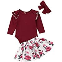 Infant Baby Girl Skirt Clothes Cotton Romper Bodysuit Floral Skirt Dress Outfit Set 3PCS Skirt Set (12-18 Months, Wine Red)