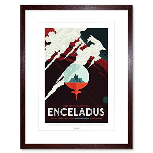 NASA Space Travel Ad Southern Enceladus Framed Wall Art Print スペース旅行壁