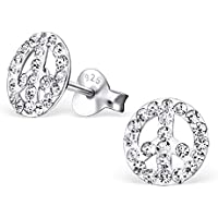 925 Sterling Silver White Crystal Peace Sign Ear Studs 20581